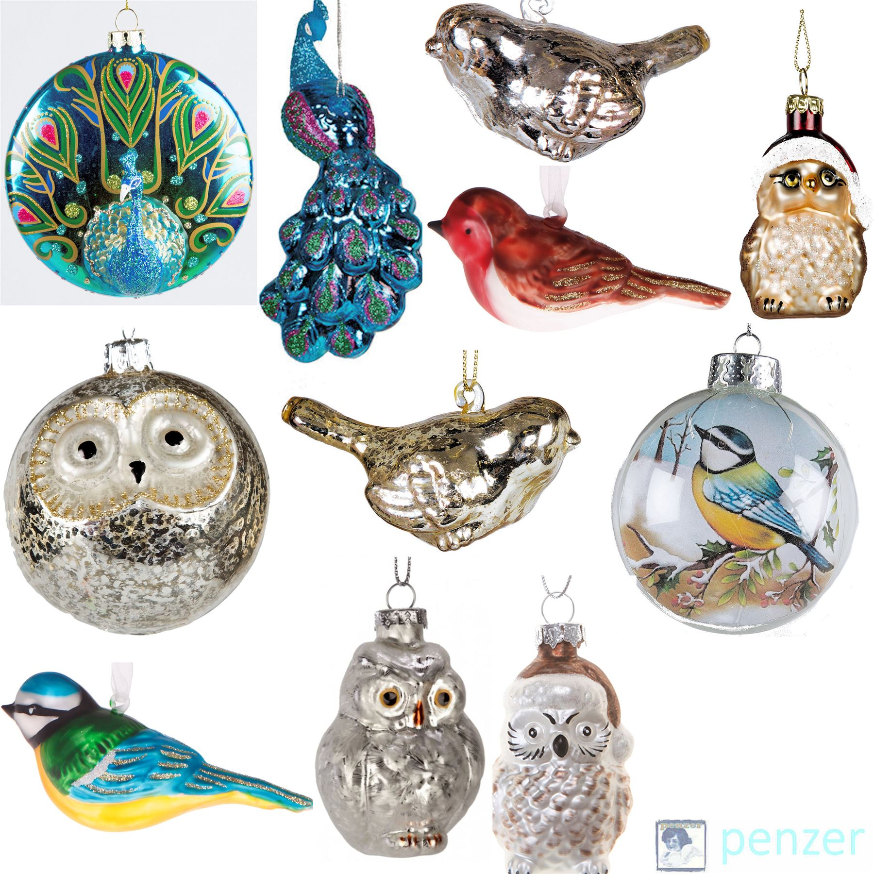 Birdhouse Christmas Tree Ornaments : Luxury glass birds christmas tree hanging decorations
