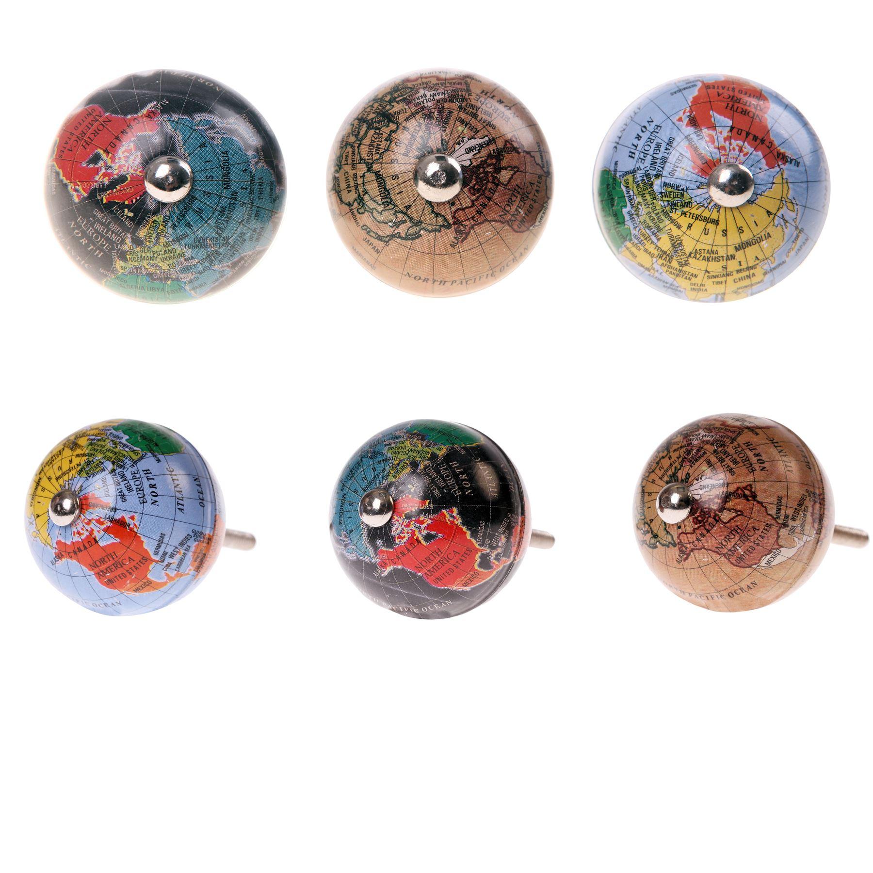 Vintage globe door knobs map atlas furniture drawer pulls for Bouton de porte original