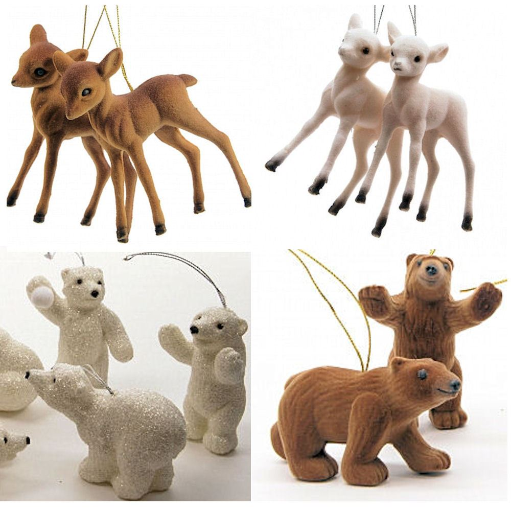Sets of flocked christmas animals hanging decorations baby for Christmas pictures of baby animals