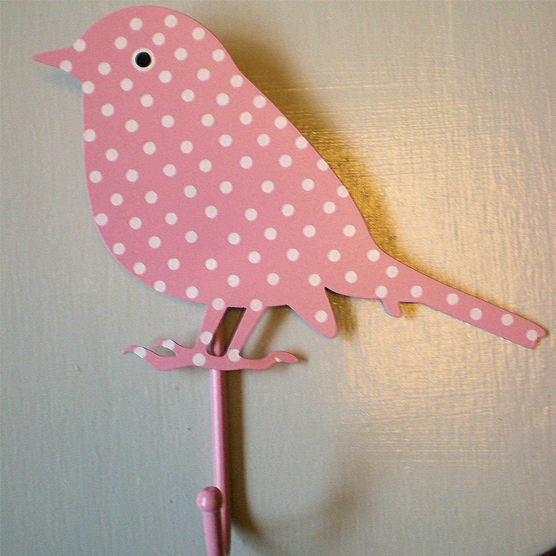 Pink polka dot painted bird coat hooks peg girls bedroom