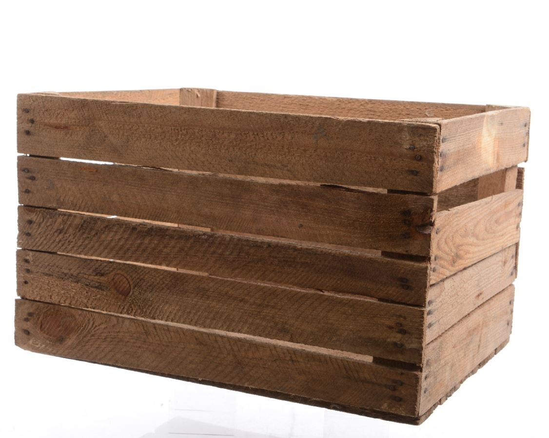 Vintage used large wooden apple crate storage shelving for Used apple crates