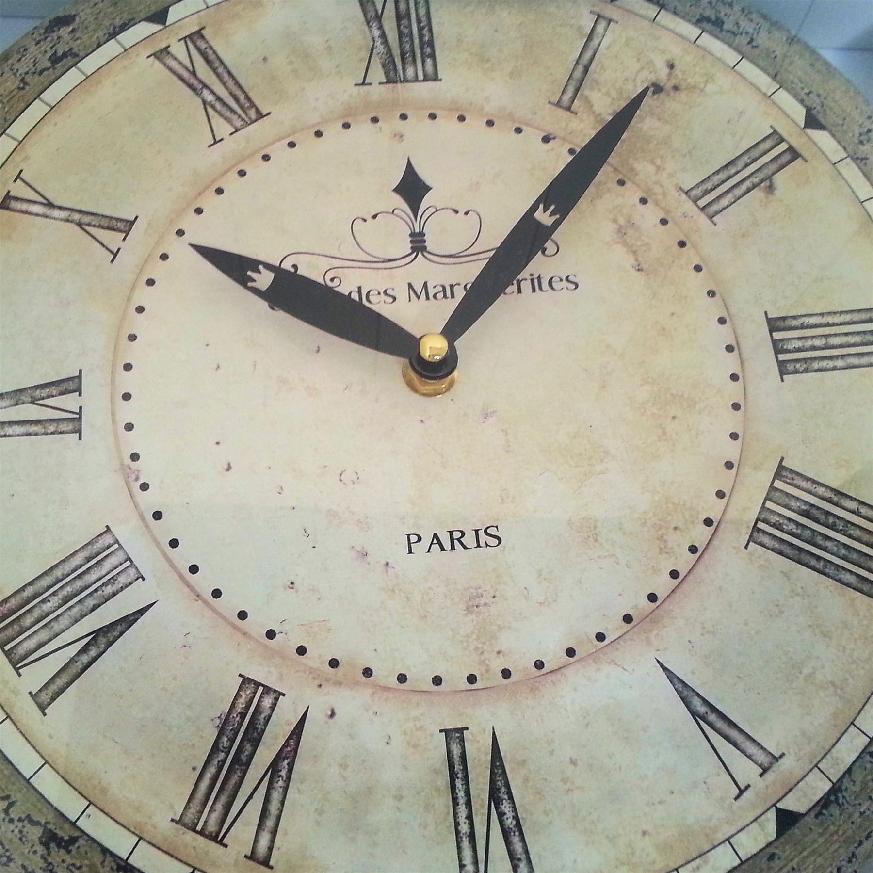 FRENCH VINTAGE CHIC WALL CLOCK BROWNS NEUTRALS SHABBY
