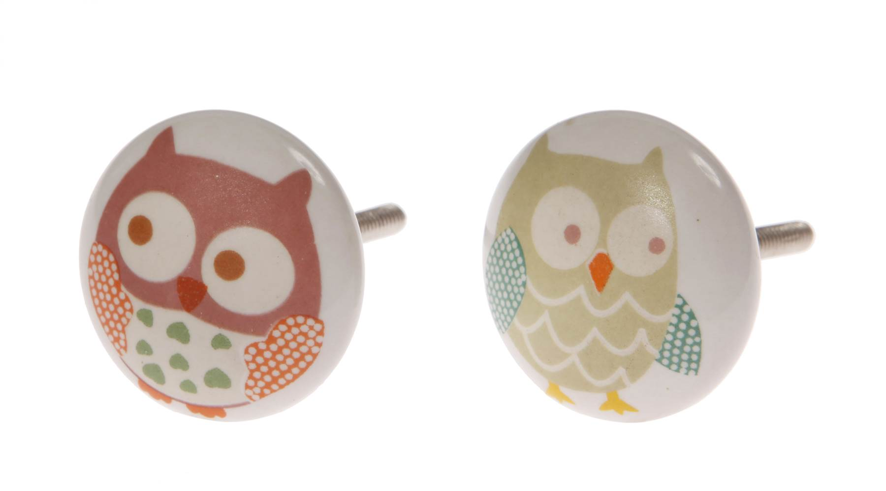 Owls painted ceramic door knobs childrens nursery bedroom for Children s bureau knobs