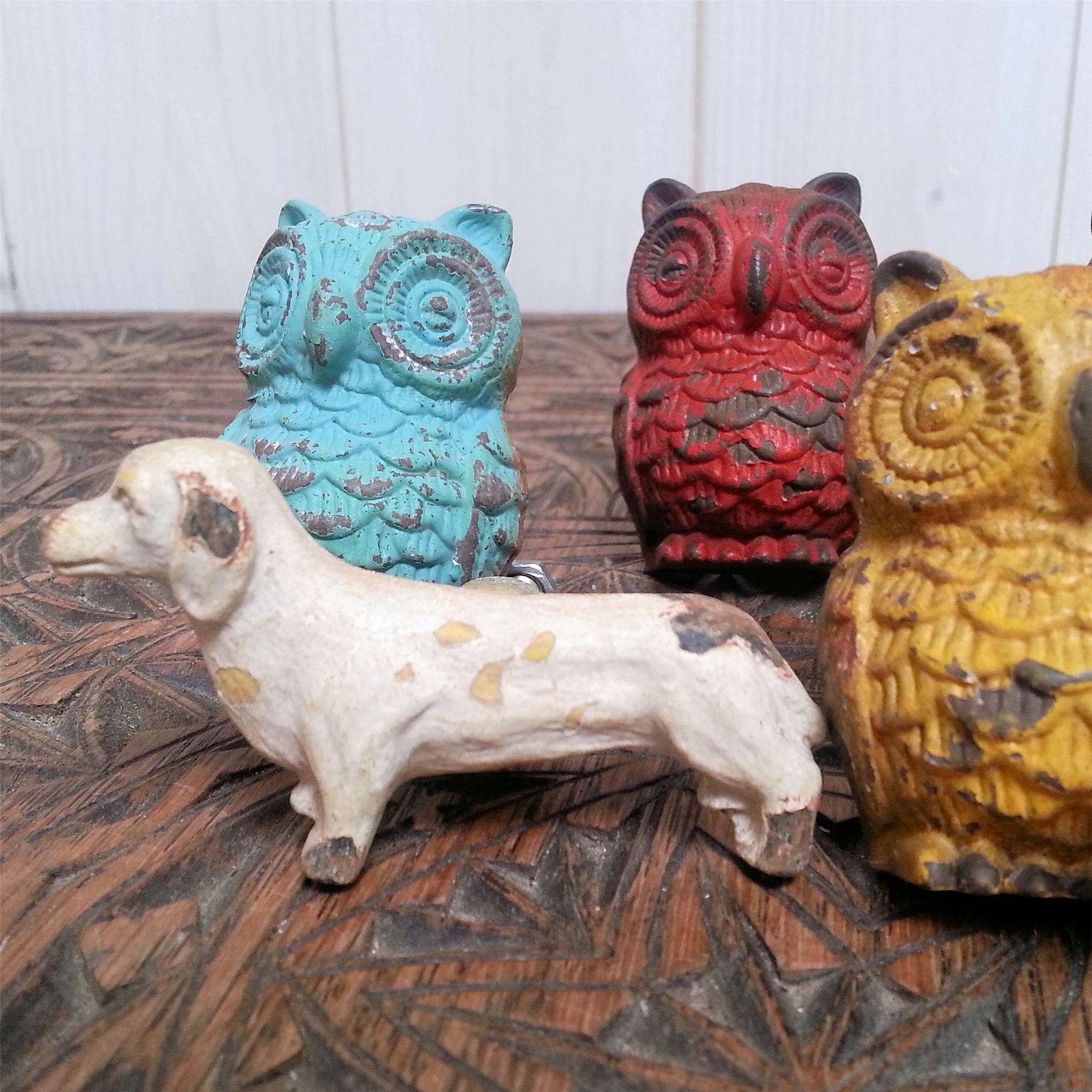 DOGS OWL SWALLOWS DOOR KNOBS DRAWER PULLS HANDLES METAL VTG PAINTED ...