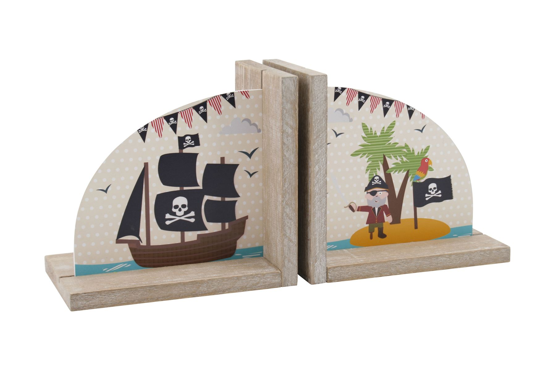 Pirate Design Bookends Childrens Kids Bedroom Themed Books