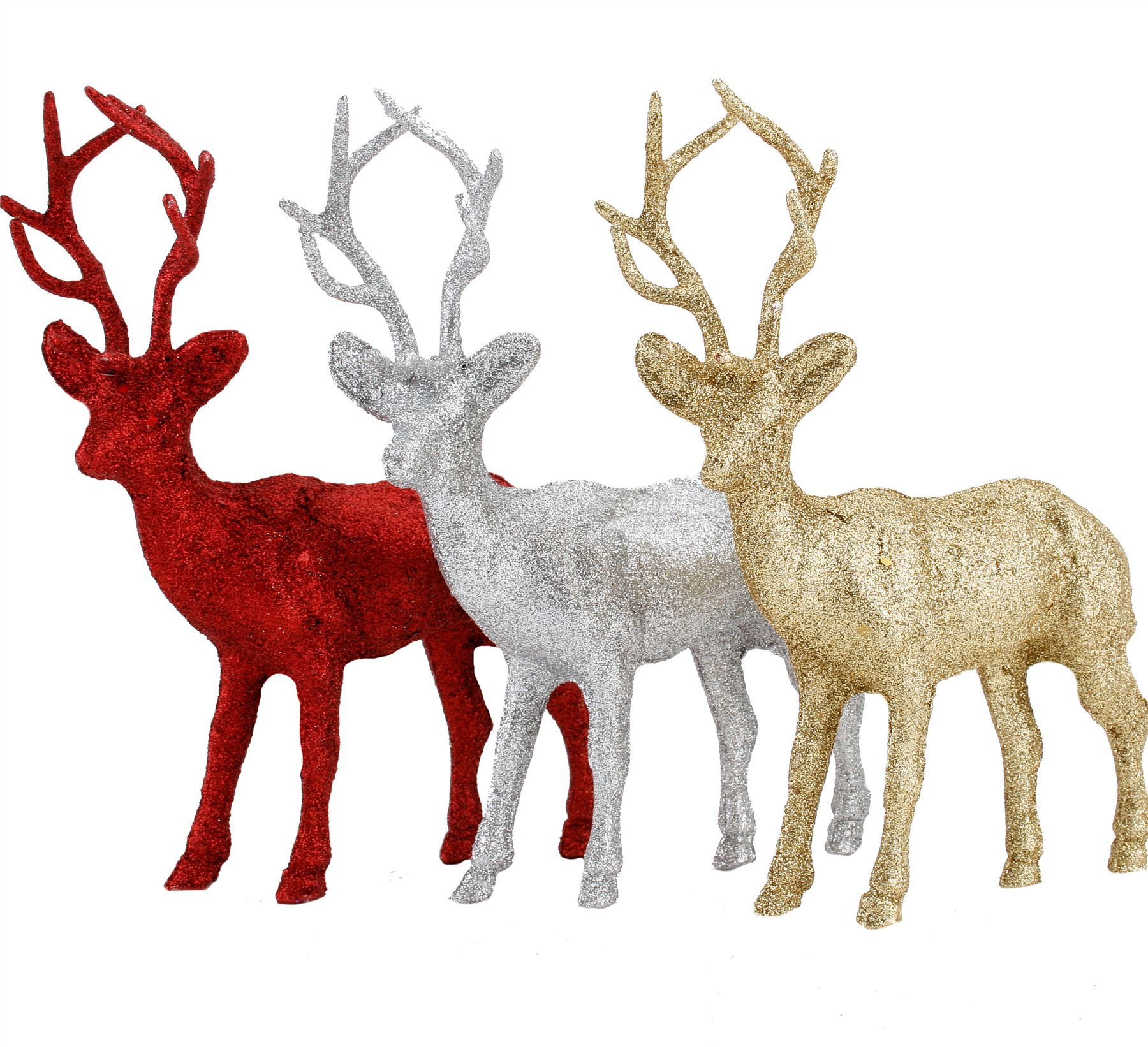 Large Glitter Standing Stag Ornament Christmas Table Decoration Reindeer Ebay