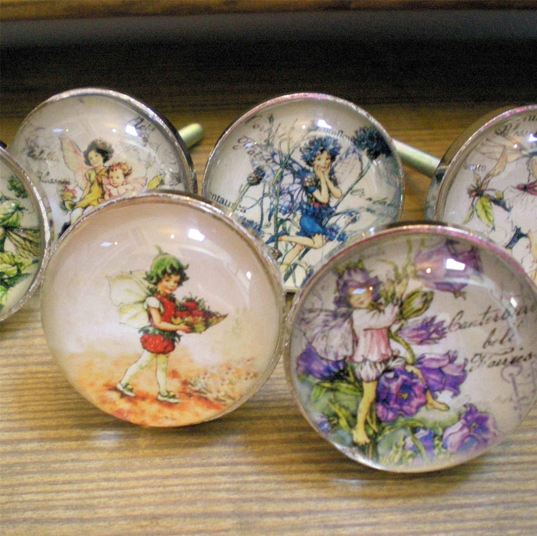 Flower Fairy Glass Door Knobs Girls Bdrm Furniture Drawer Pulls Handles Fairies