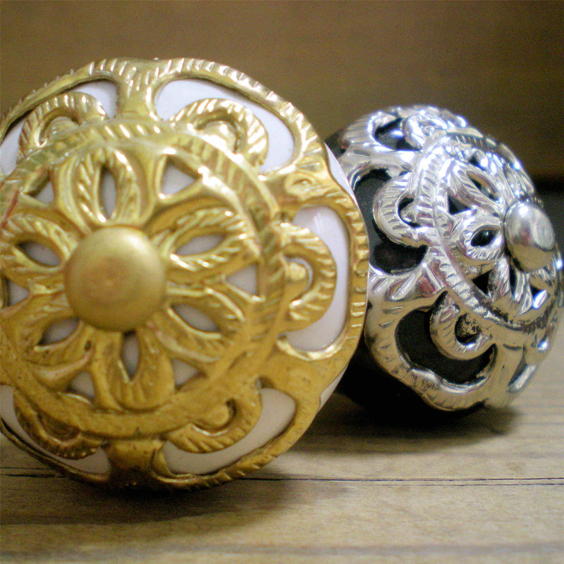 french vtg door knobs gold brass silver antique filigree