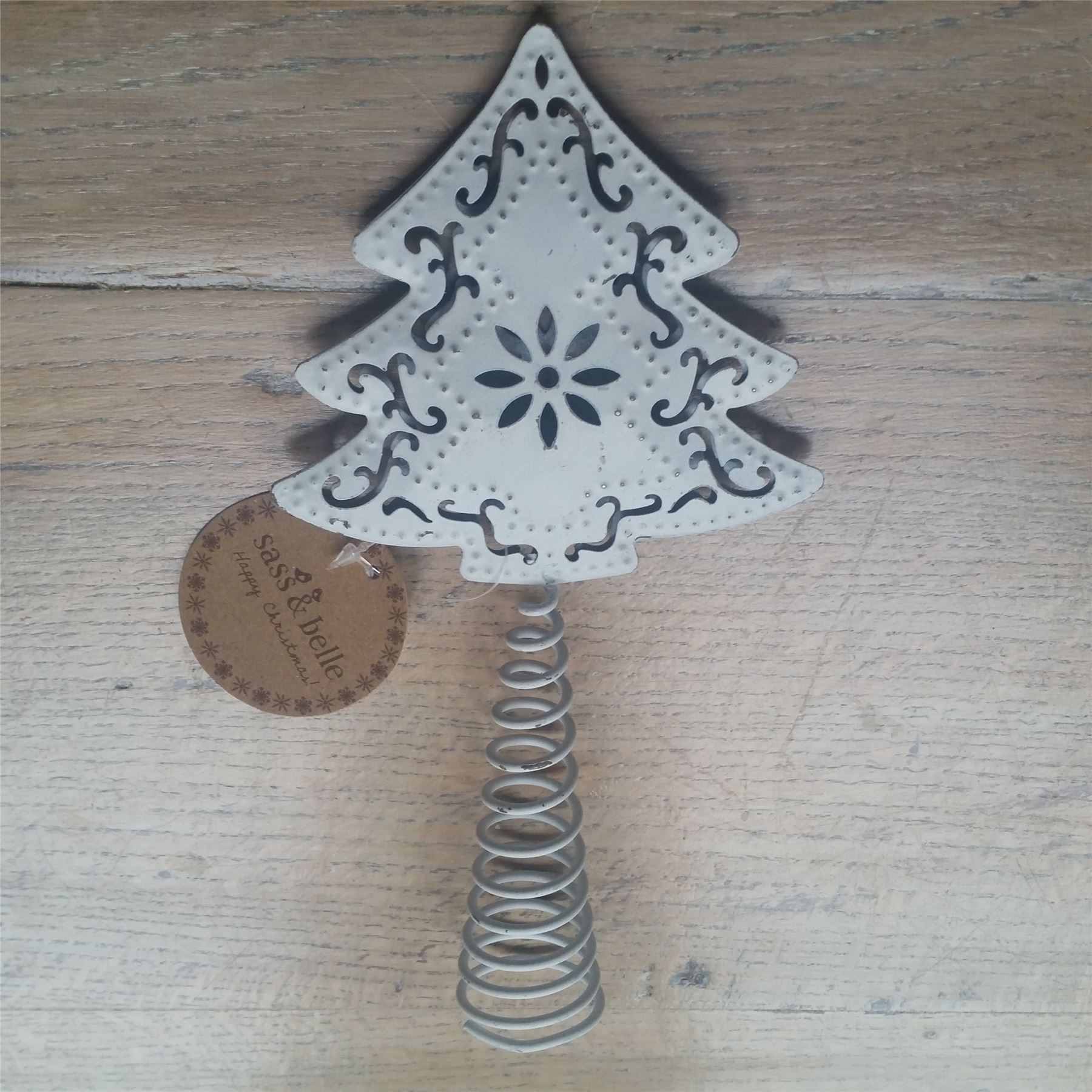 Nordic White Metal Christmas Tree Topper Heart Star Scandi