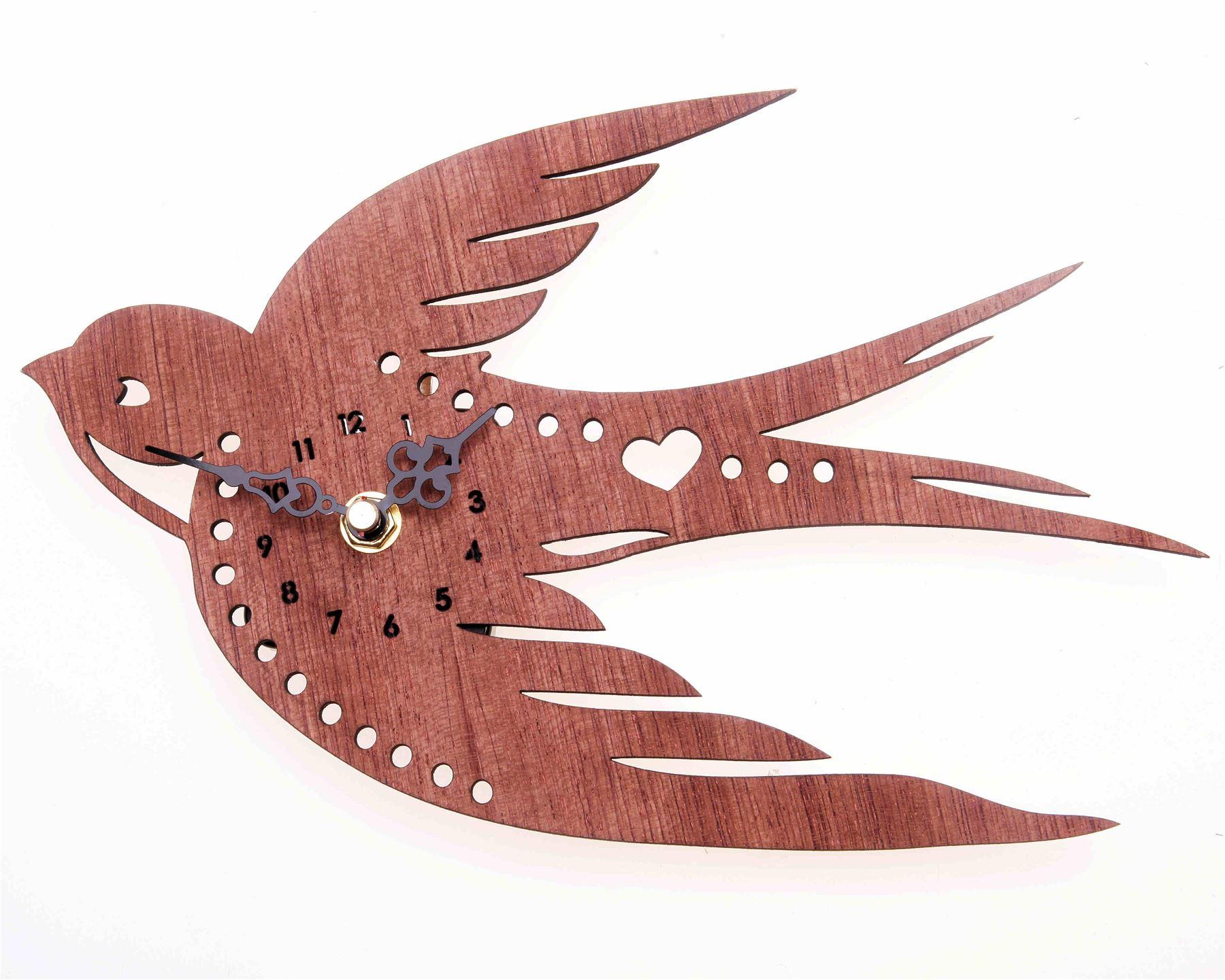 Vtg Wooden Wall Clock Retro Flying Swallow Bird Decor Gift