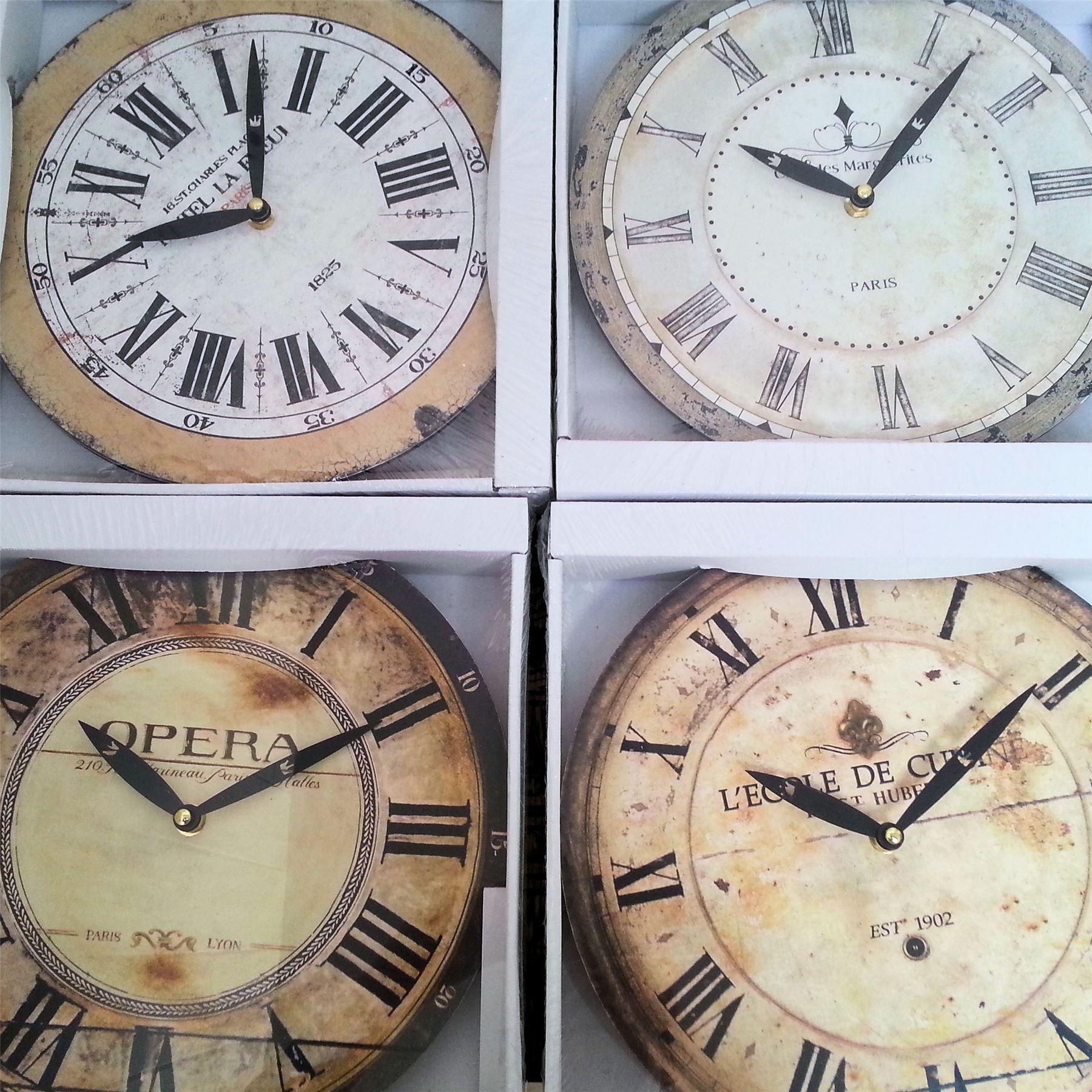 Franc S Vintage Chic Reloj De Pared Marrones Neutros Shabby  ~ Relojes Grandes De Pared Vintage