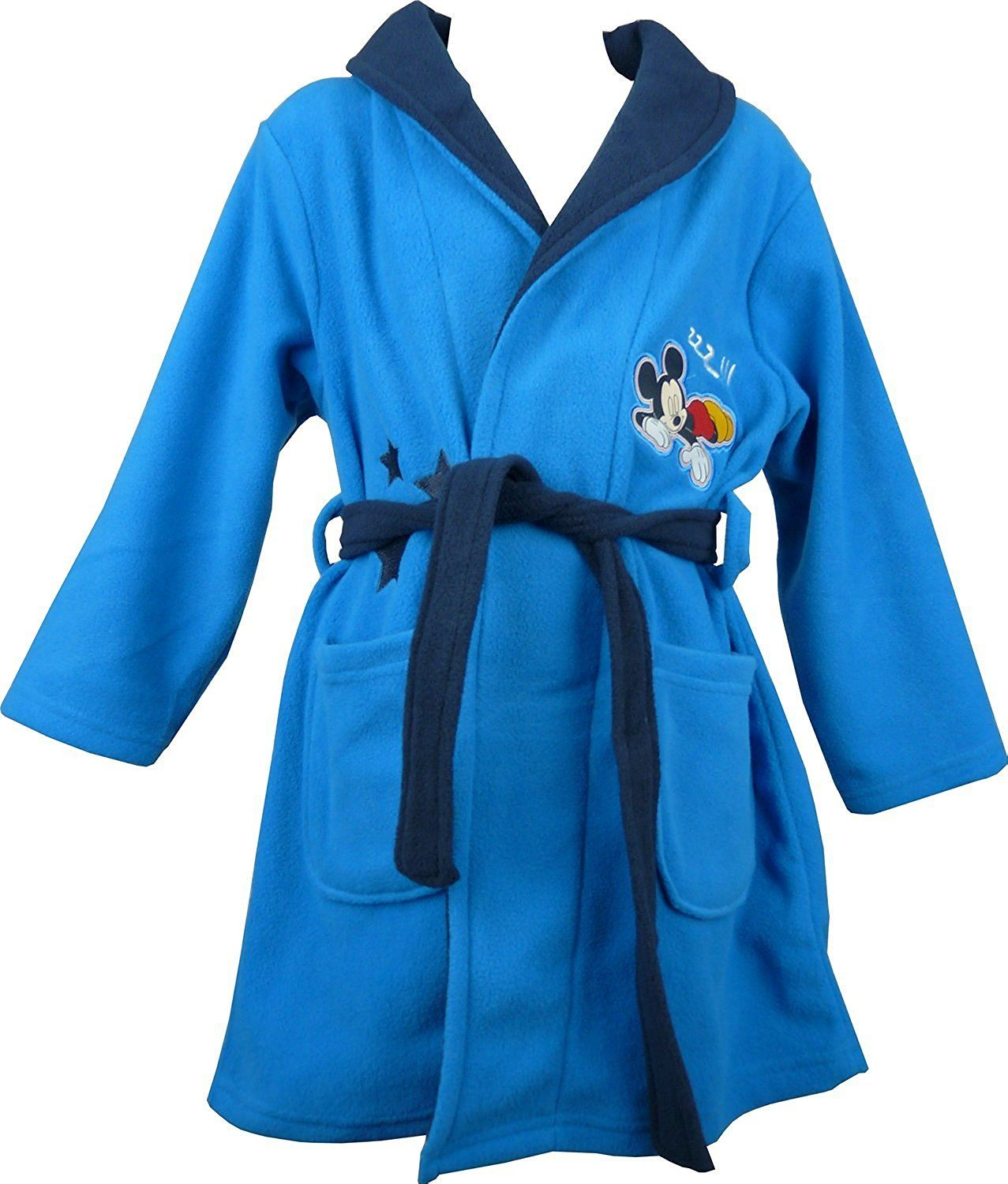 Every little mousketeer deserves to relax and snuggle up at night in the coziest robe in all of Disney! This adorable Mickey Mouse gown is made of a soft fleecy material and showcases a motif of Mikey and cute 3D ears on the hood. With super handy pockets and tie belt fastening this dressing gown .