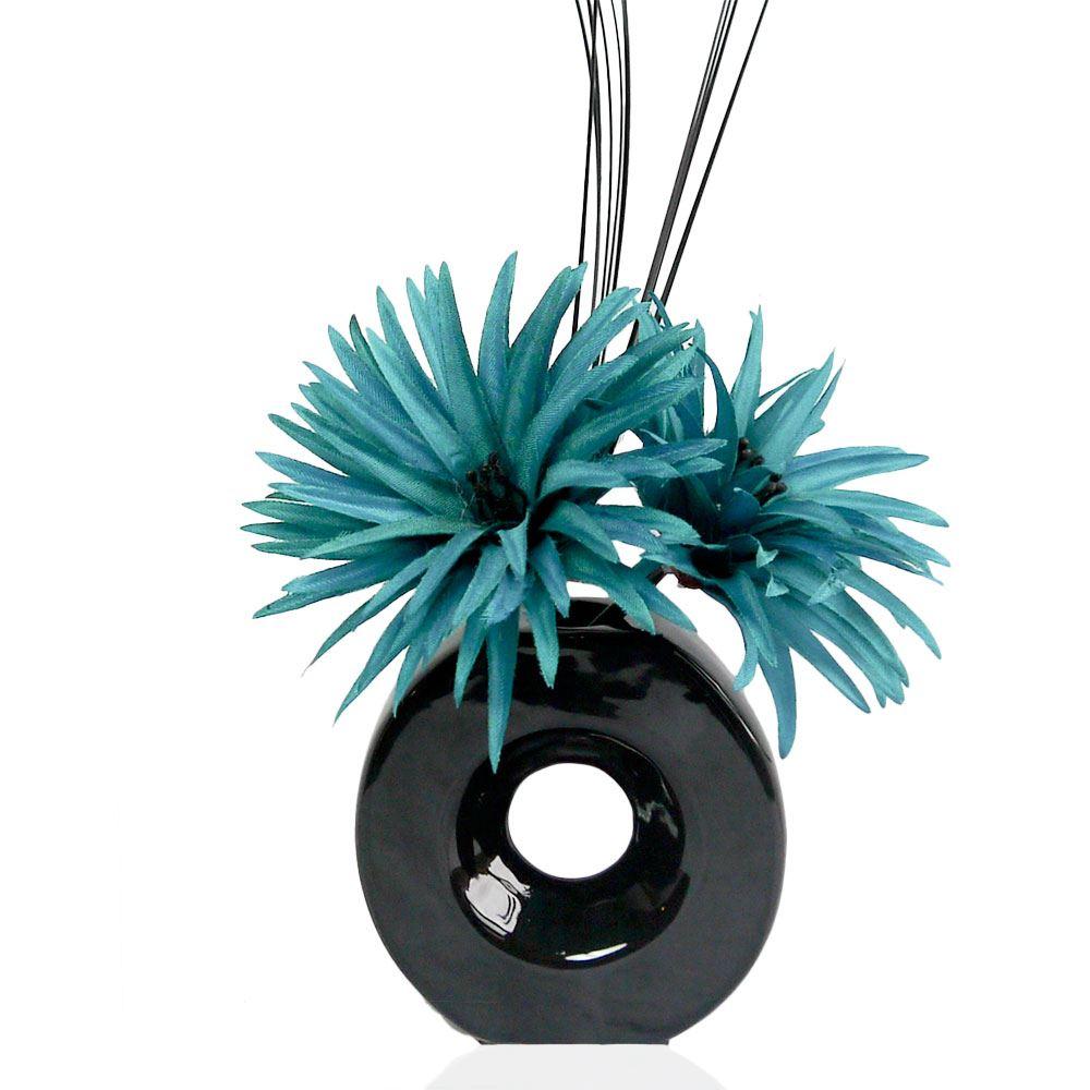 Teal Phoenix Silk Artificial Flower Arrangement in Vase with Grass Filler