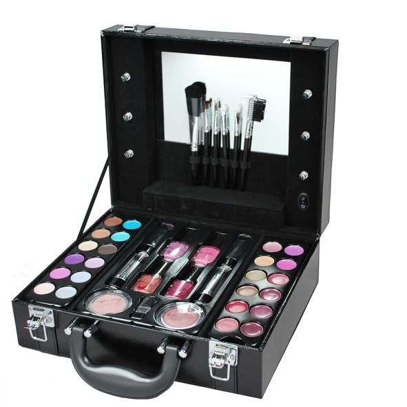 gift set light up vanity case in black filled with make up ebay. Black Bedroom Furniture Sets. Home Design Ideas