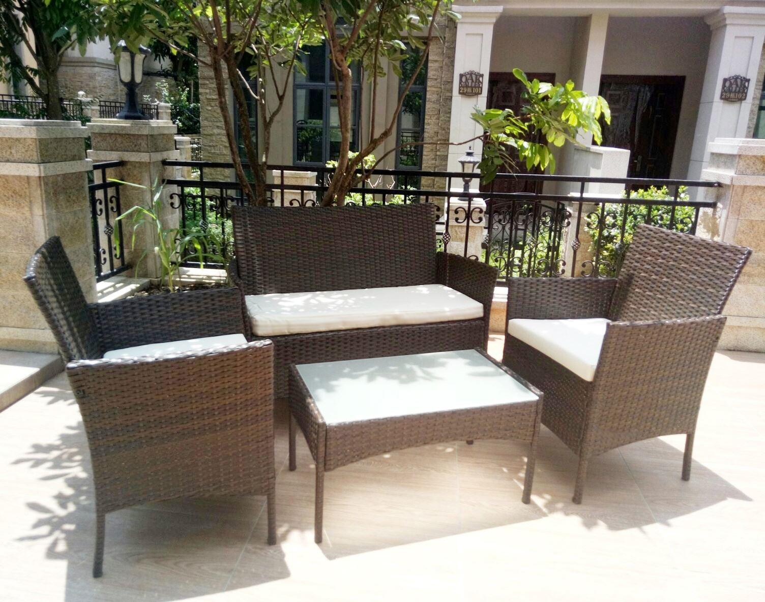 4 Piece Rattan Garden Glass Table Chairs Patio Set Outdoor Garden Furni