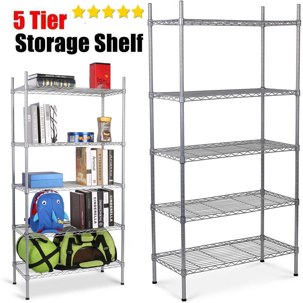 5 tier heavy duty metal steel storage shelf kitchen garage. Black Bedroom Furniture Sets. Home Design Ideas