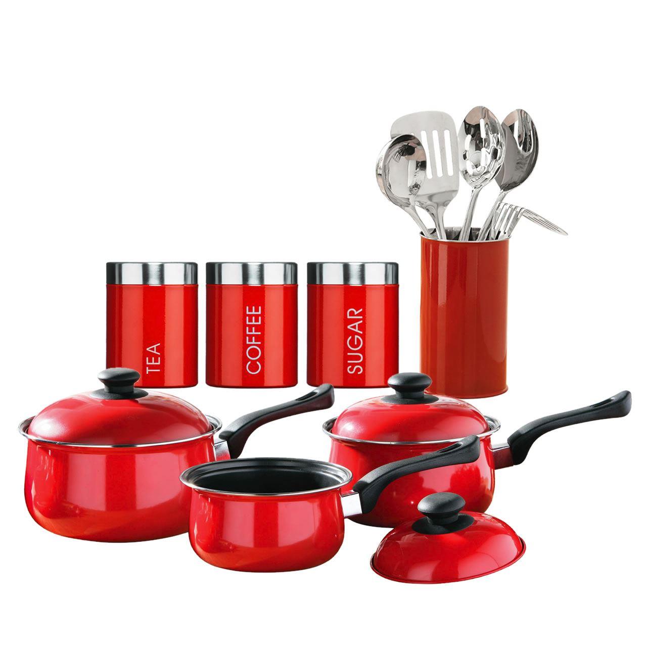 12 piece kitchen starter set tea coffee sugar saucepan for Naaptol kitchen set 70 pieces