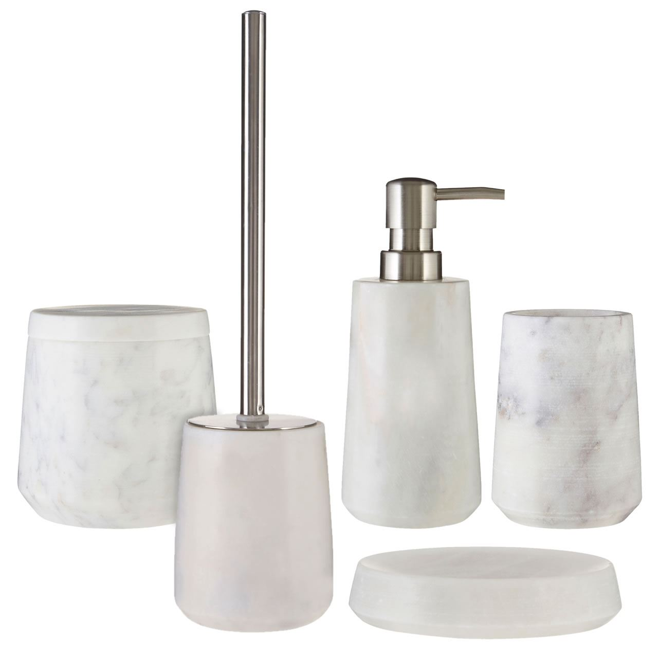 5 piece marble bathroom accessories set soap dish tumbler toilet brush ebay - Bathroom soap dish sets ...
