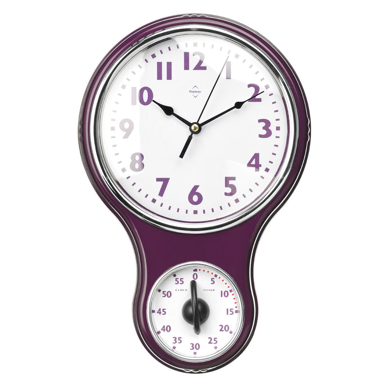 Kitchen Wall Clock Timer Made White Face Purple Hot Pink