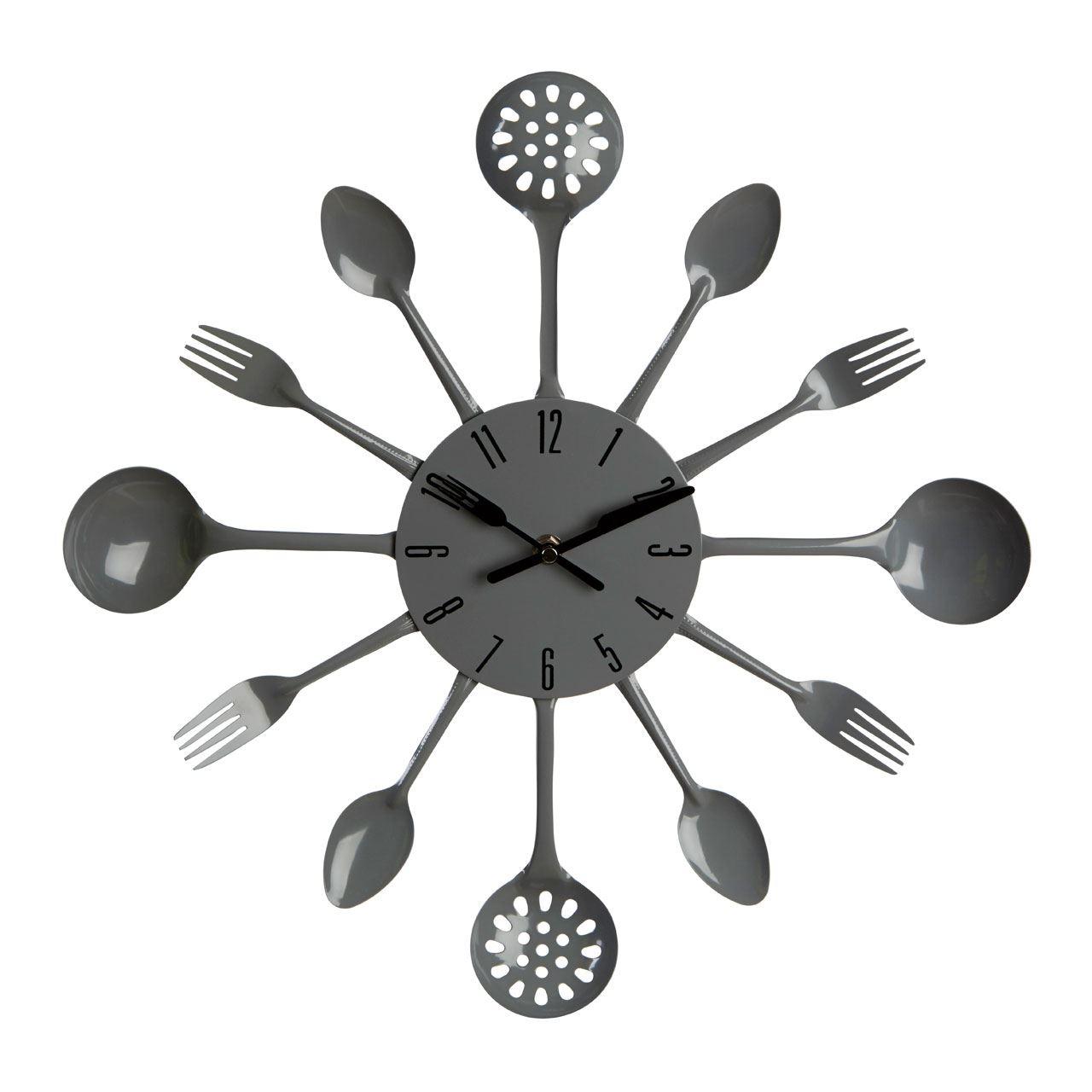 Uniquebella Metal Kitchen Cutlery Utensil Wall Clock Spoon: Kitchen Cutlery Wall Clock Wall Mounted Spoon Fork Ladle