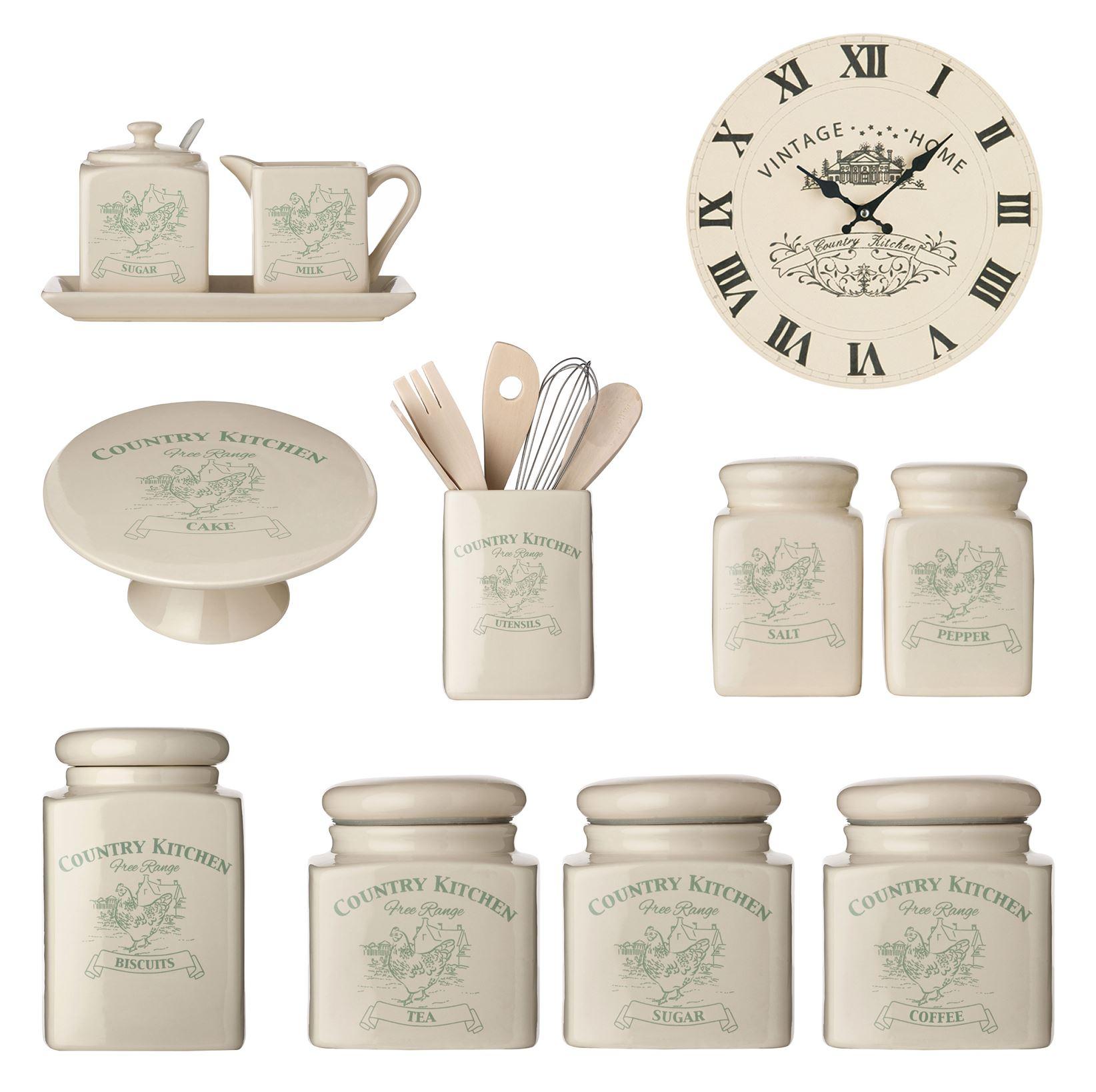 kitchen tea coffee sugar canister biscuit salt pepper milk. Black Bedroom Furniture Sets. Home Design Ideas