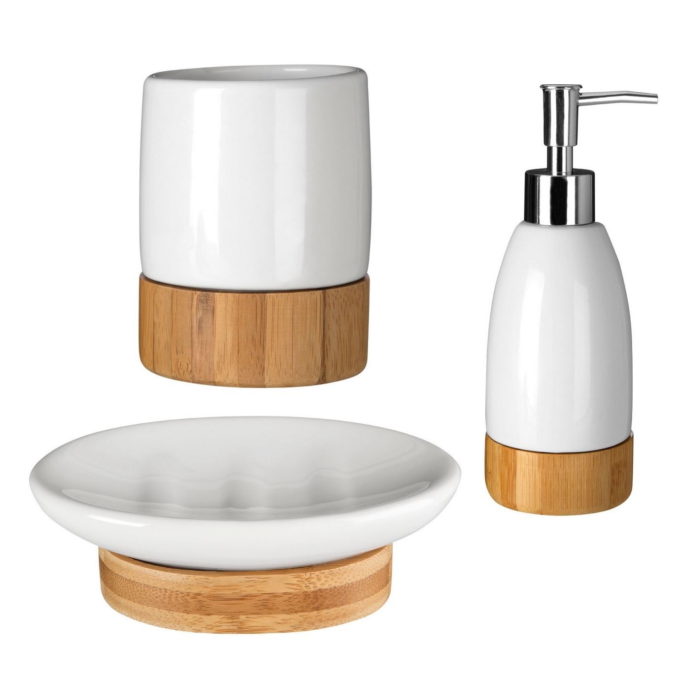 Earth white dolomite wooden bamboo base bathroom for Bathroom fittings set