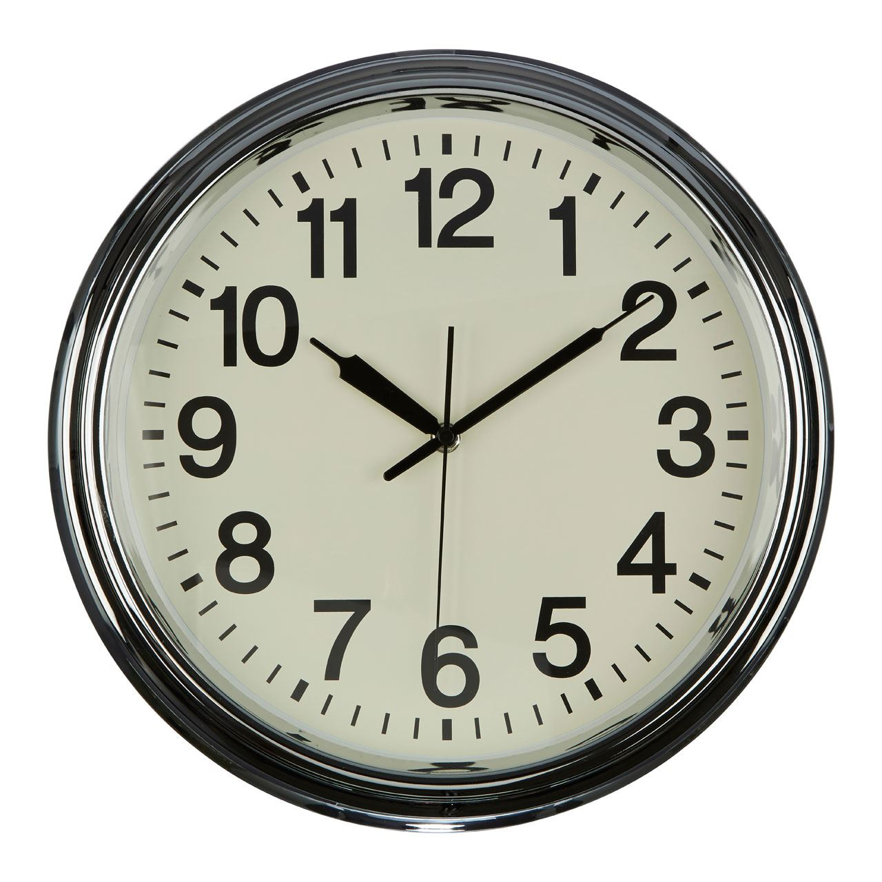 Wall Clock Cream Face Black Numbers & Hands Chrome/Copper Finish ...