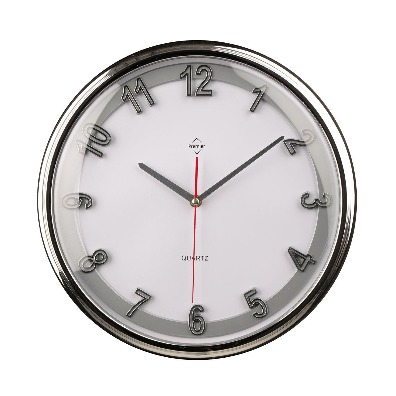 Wall Clock Chrome Effect Silver Plastic Frame White Face