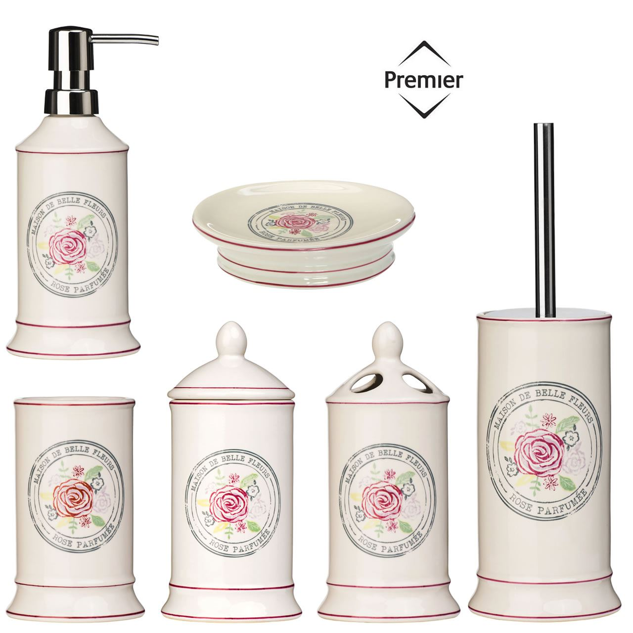 Bathroom accessories bath dispenser storage set ceramic belle cream shabby chic ebay - Accessori bagno shabby ...