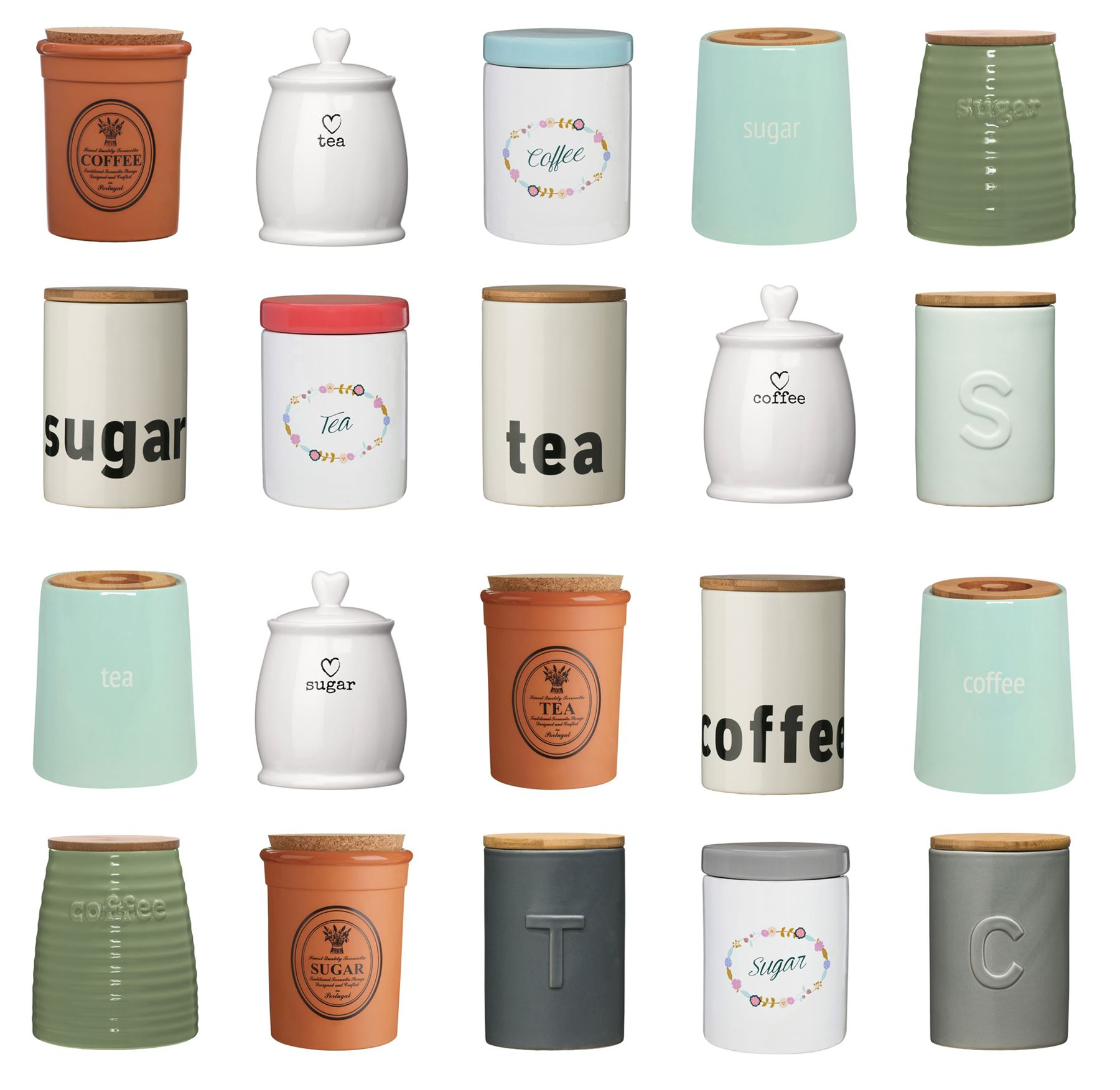 tea coffee sugar canisters pots kitchen storage jars /ceramic