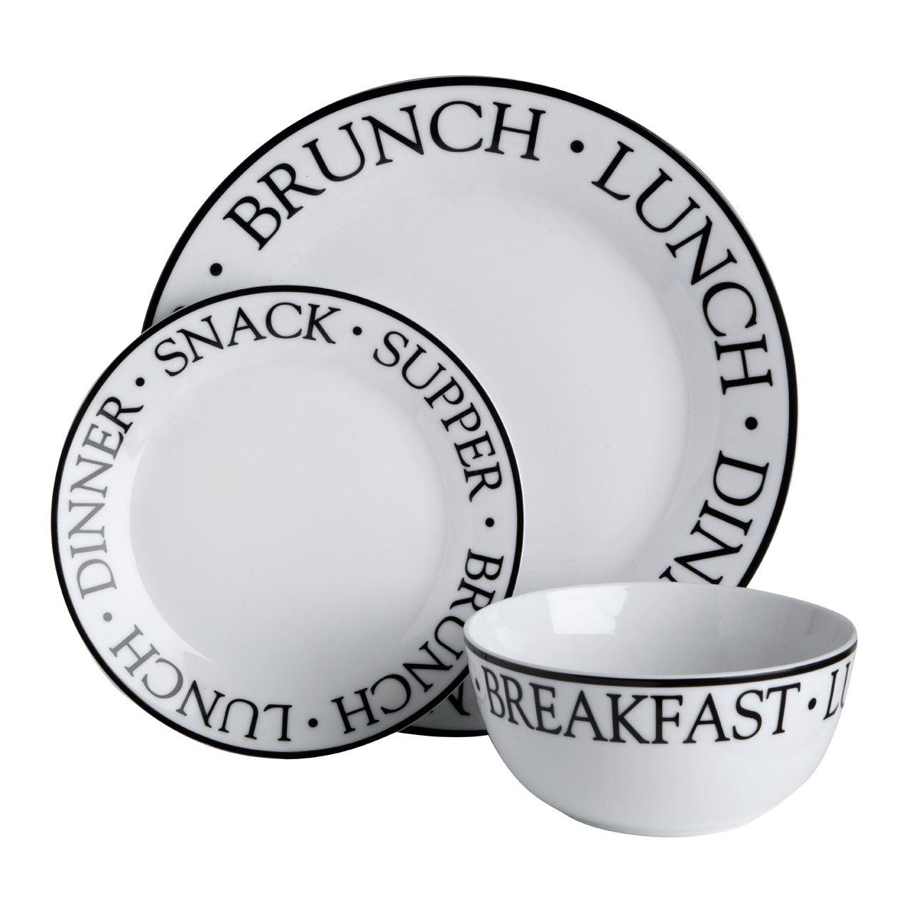 12-24-PCS-DINNER-SET-Porcelain-Kitchen-Serving-  sc 1 st  eBay & 12/24 PCS DINNER SET Porcelain Kitchen Serving Plates Bowls Set ...