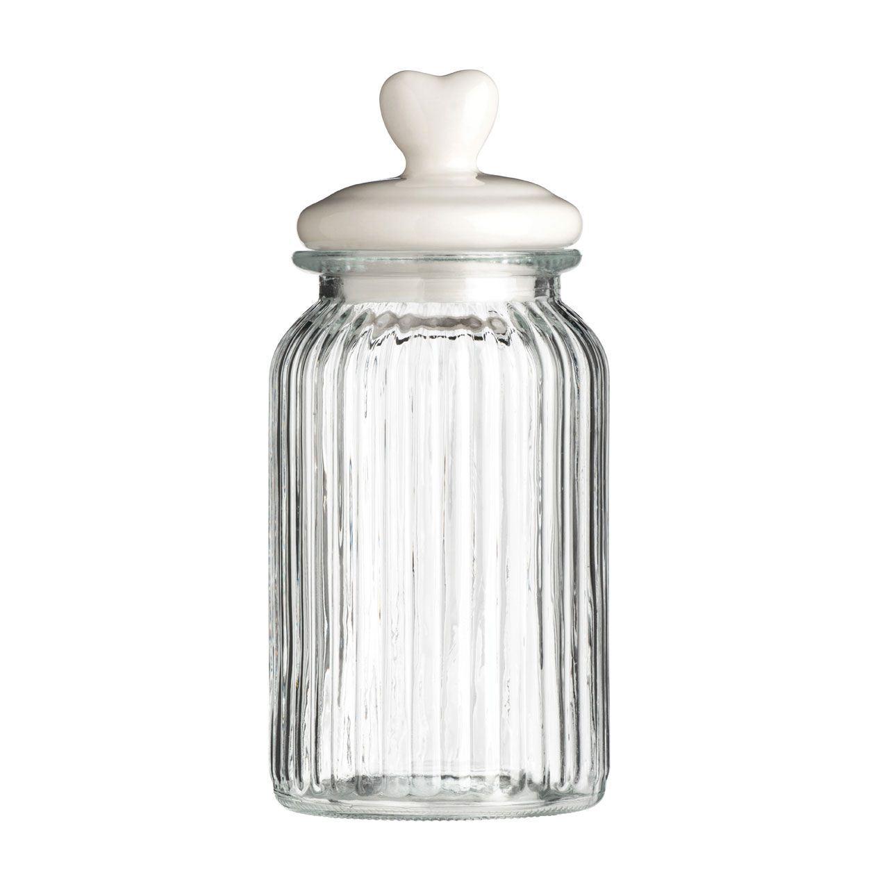 ribbed glass heart design lid kitchen storage canister jar kitchen organization with pantry storage jars hometalk
