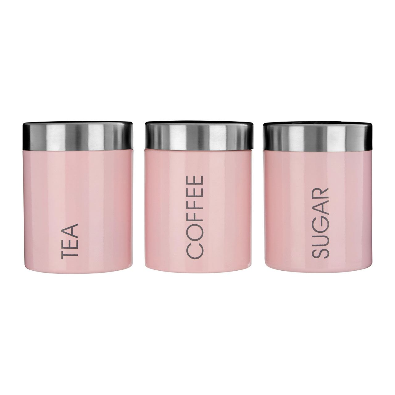 Tea coffee sugar liberty kitchen canisters light pink enamel finish jar ebay - Pink tea and coffee canisters ...