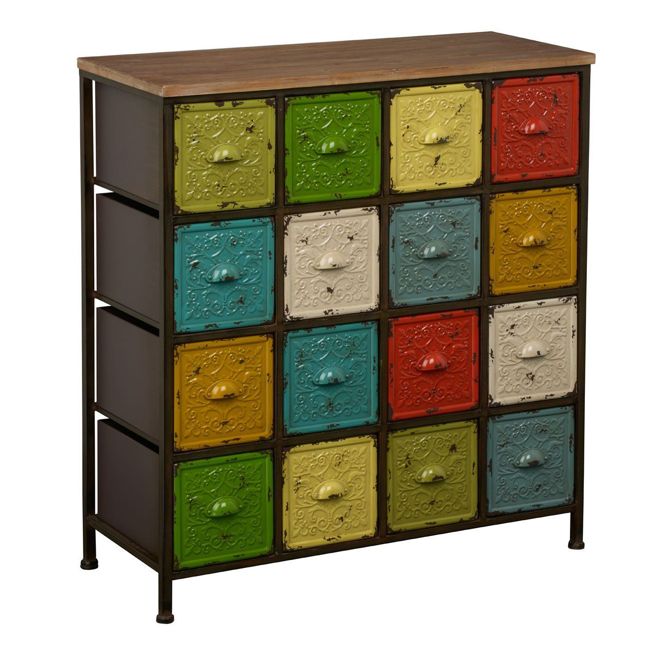 artisan cabinet 16 assorted coloured drawers metalwood