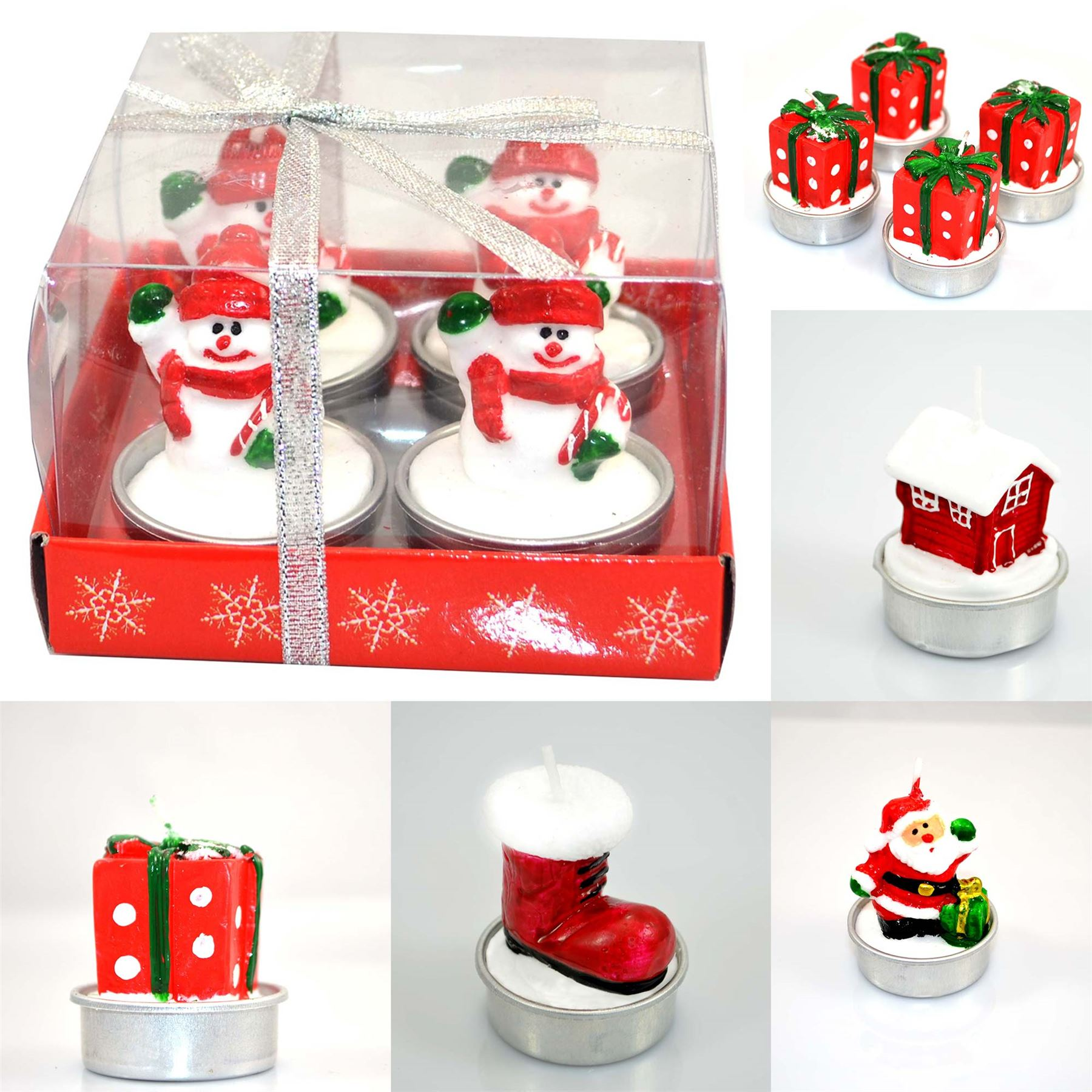 Christmas decorative novelty candles natural 4 candle set christmas decorations ebay for 7 candle christmas decoration