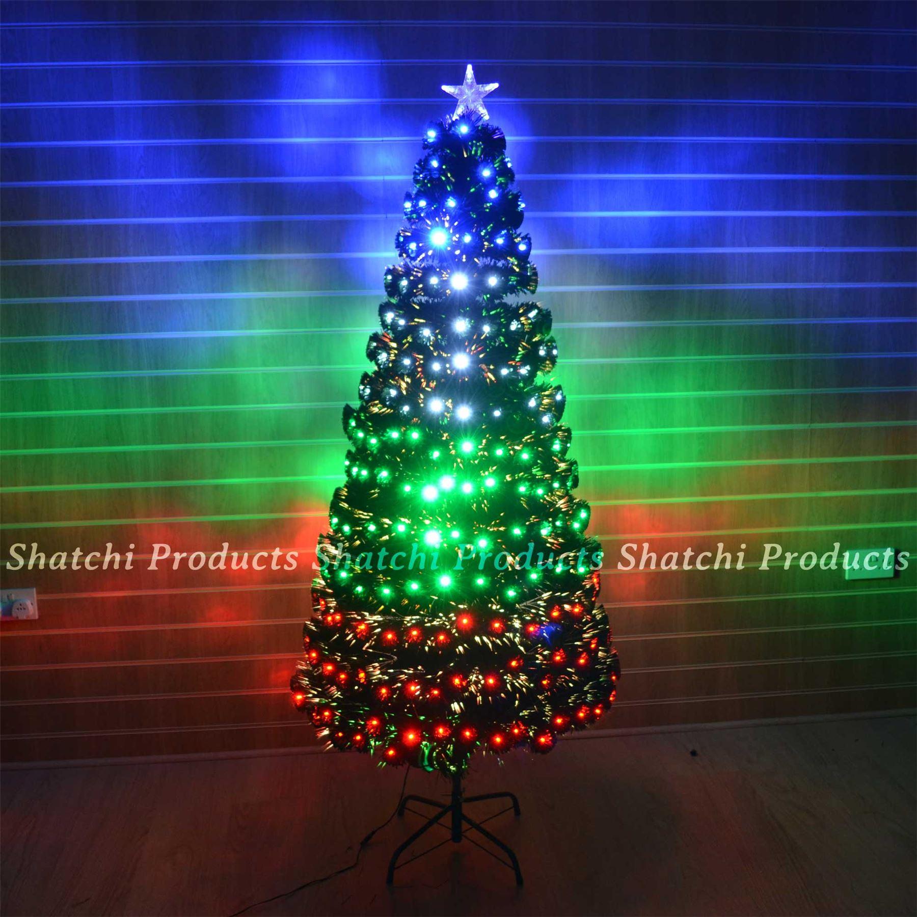 4ft 120cm black pre lit multi colour fibre optic christmas tree with - Led Fibre Optic Christmas Tree With Various Design