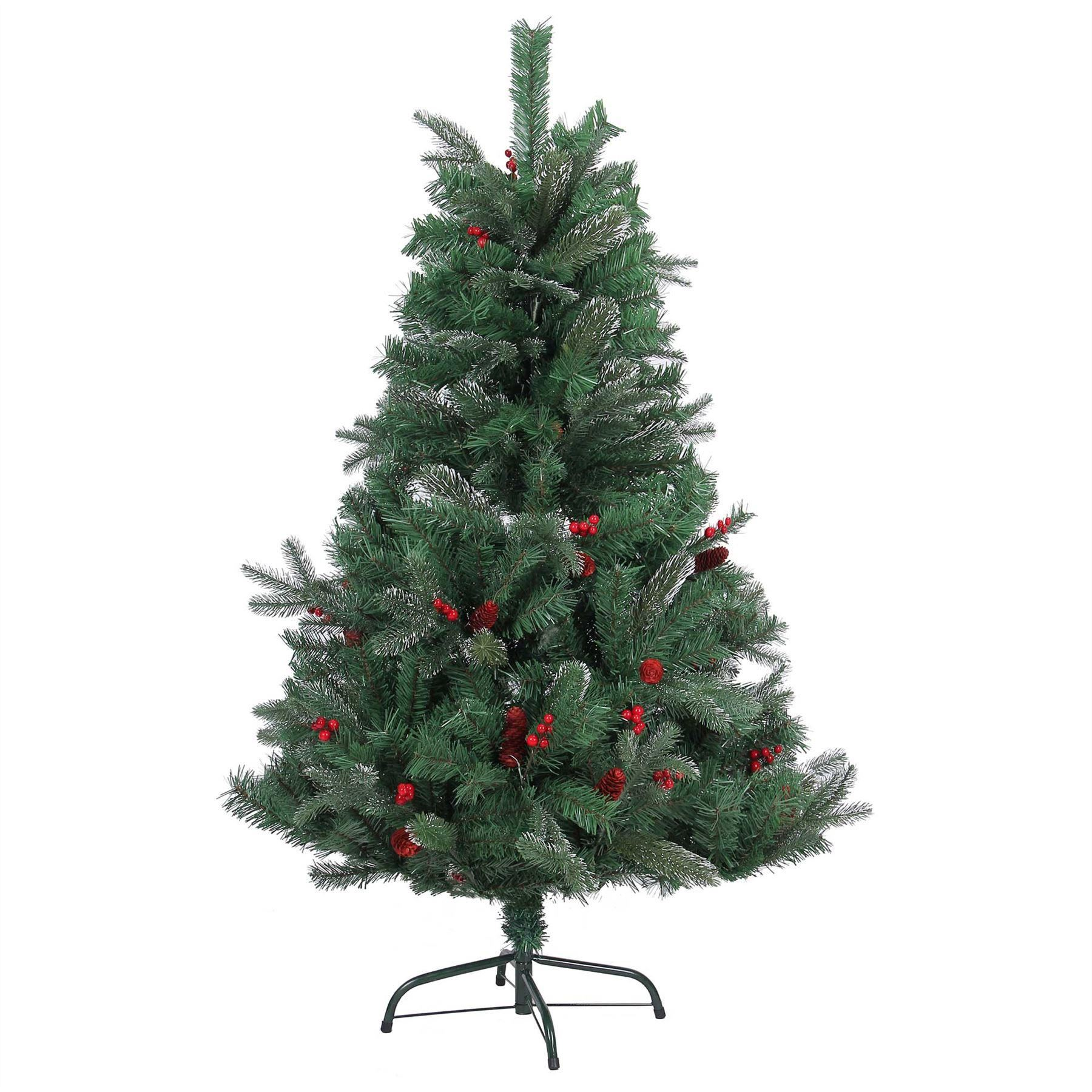 Red Red Pine Christmas Tree: 4ft 5ft 6ft 7ft Artificial Christmas Tree Frosted Tips Red