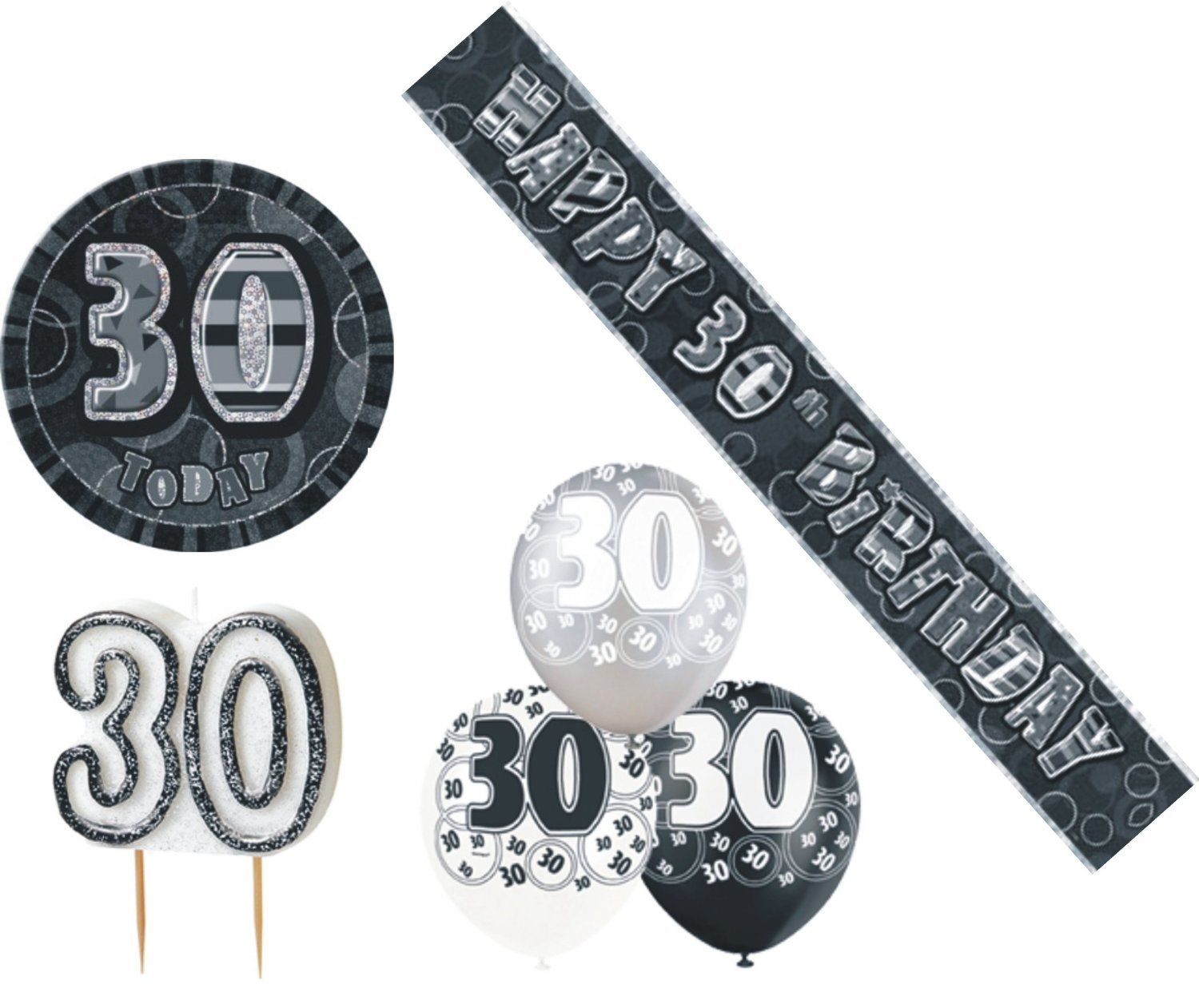 30th birtday decoration pack balloons banner candle badge for 30th birthday decoration packs