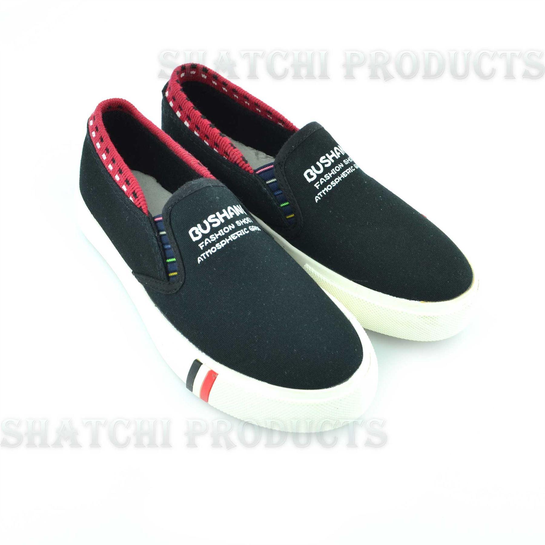 shatchi boys canvas shoes black slip on summer