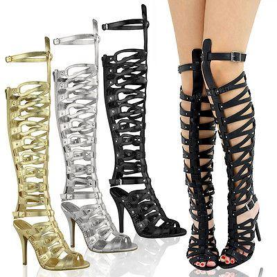 sandales montantes style spartiates talon aiguille femme ebay. Black Bedroom Furniture Sets. Home Design Ideas