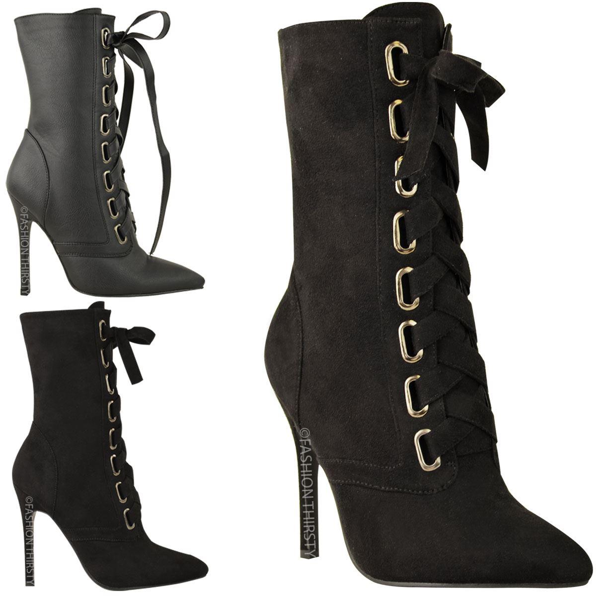 femme femmes lacets talons aiguilles high heels bottes bottines mi