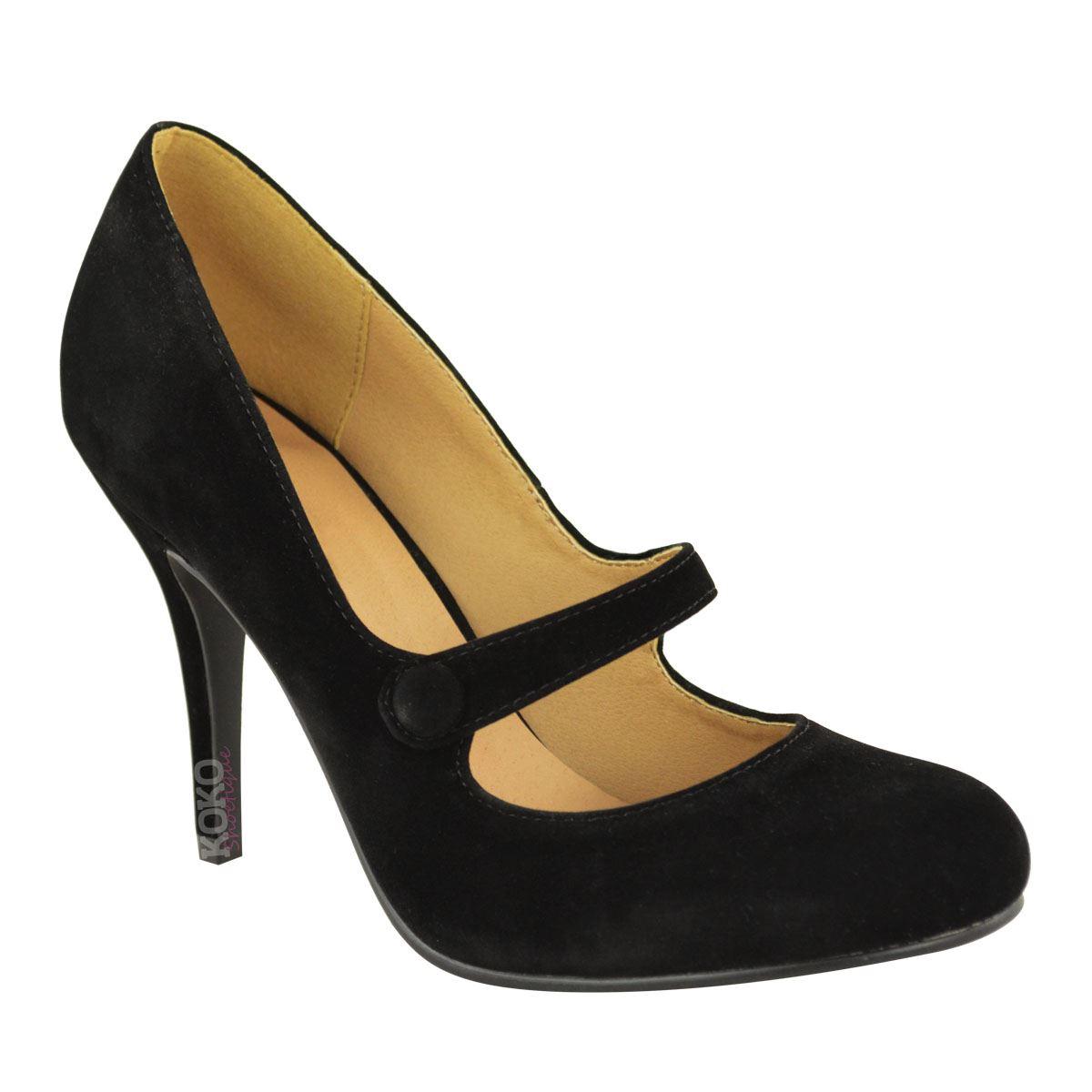details zu damen pumps mit high heels riemchen absatz hoch. Black Bedroom Furniture Sets. Home Design Ideas