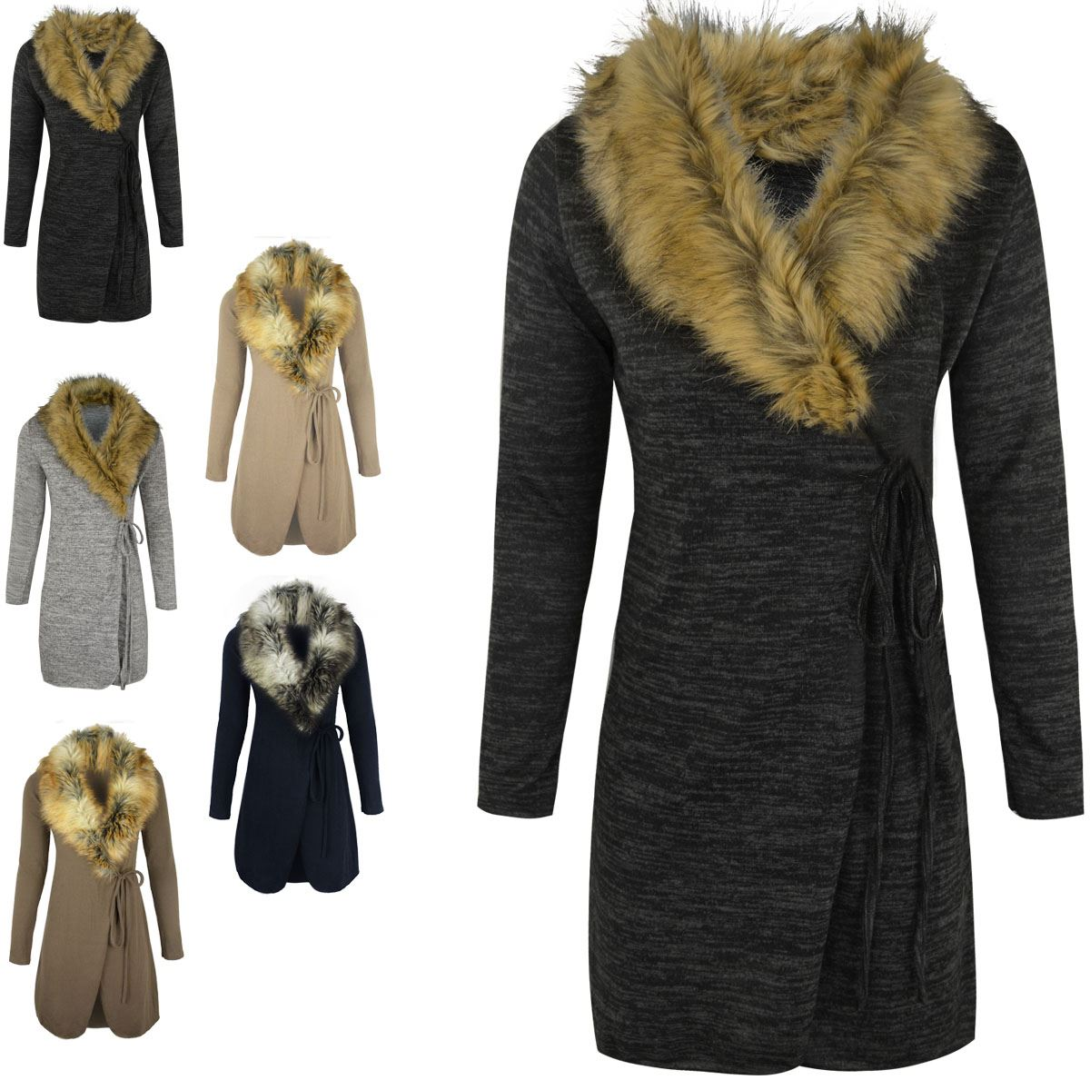 Womens Ladies FUR Collar Cardigan Jacket Knitted Sweater ...