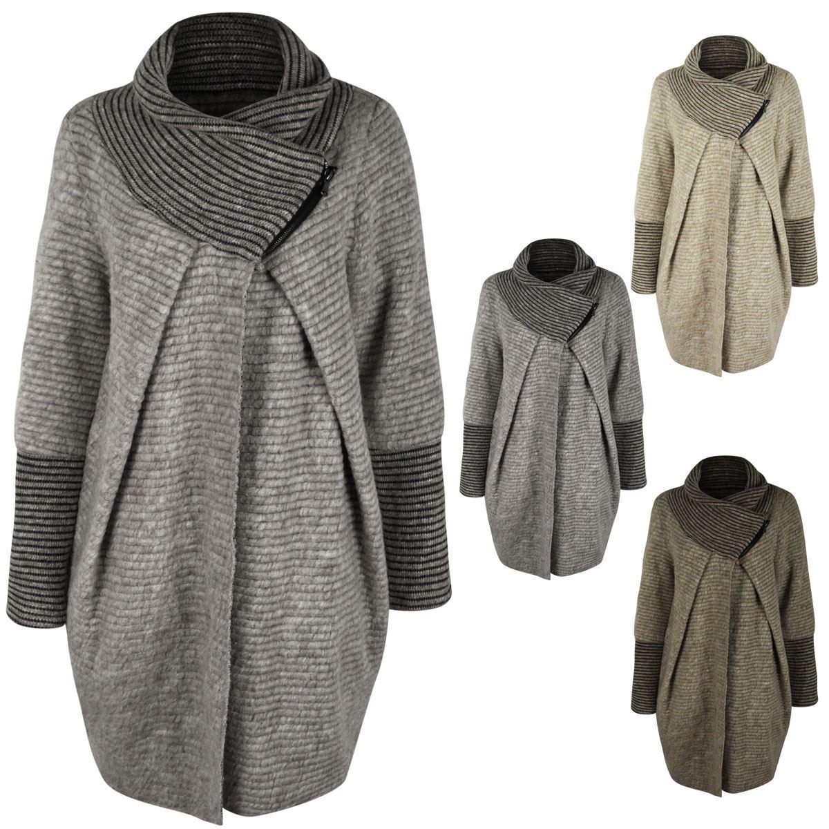 femme surdimensionn wrap cardigan baggy col roul pull veste laine manteau ebay. Black Bedroom Furniture Sets. Home Design Ideas