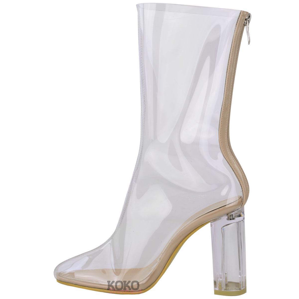 womens ankle boots clear perspex block high heel