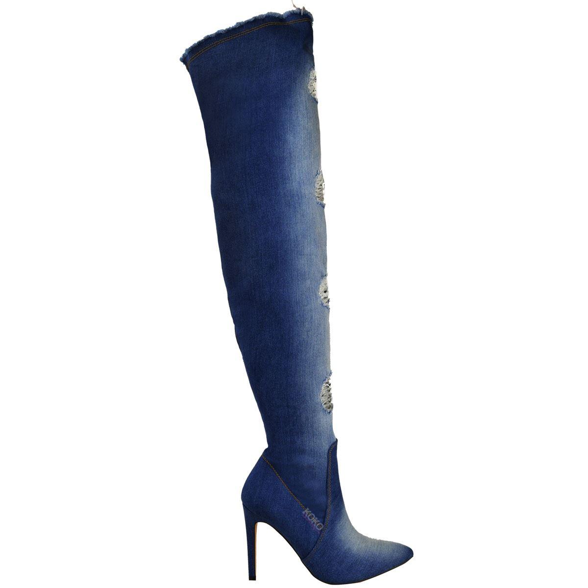 womens denim the knee thigh high boots