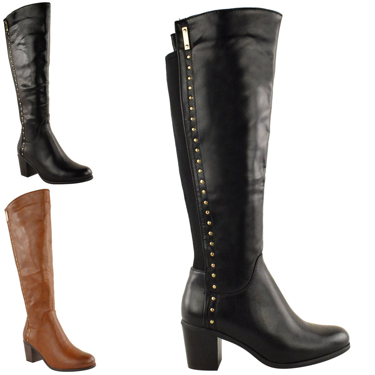 Cool Marc Fisher Marc Fisher Tracey3 Wide Calf Women Leather Black Knee High Boot Boots
