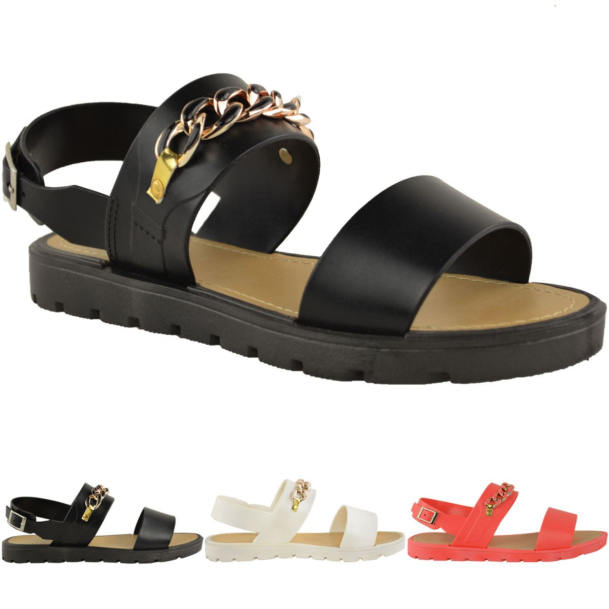 WOMENS LADIES SUMMER JELLY SANDALS ANKLE STRAP SLING BACK ...