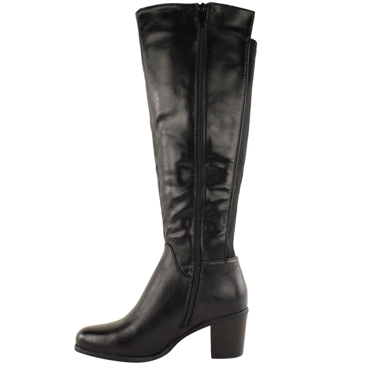 Unique Womens Wedge Heel Knee High Mid Calf Wide Leg Elastic Ladies Winter Biker Boots | EBay