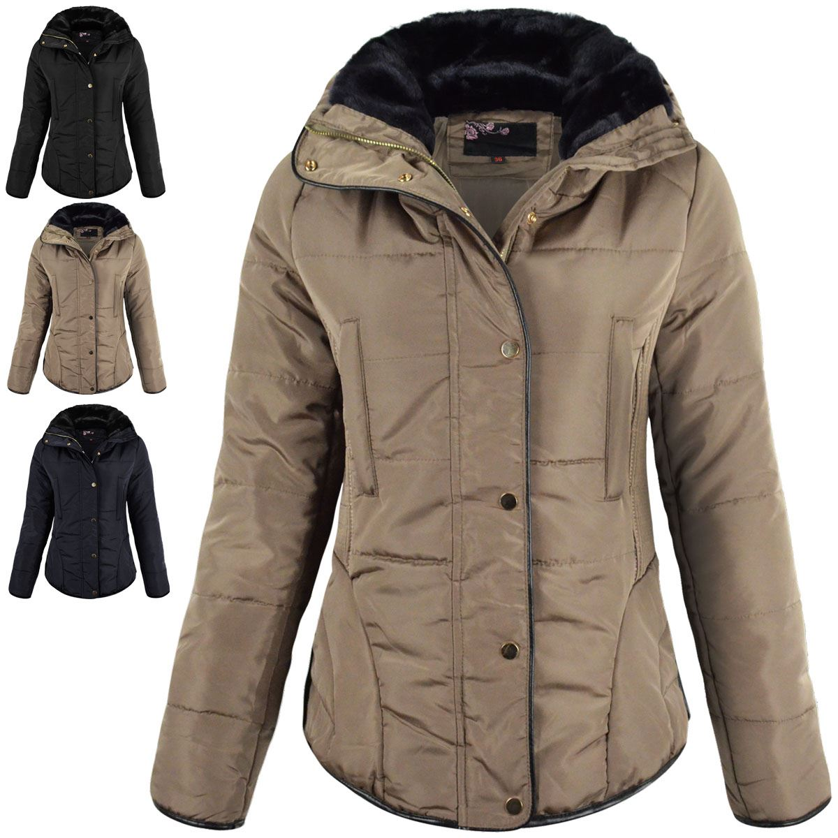 WOMENS LADIES QUILTED WINTER COAT PUFFER FUR COLLAR JACKET SHORT PARKA SIZE NEW | EBay